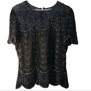 🌟Sale💘 Papell Boutique beaded sheer neckline top